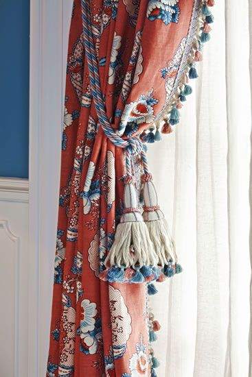 red blue and white curtains with tassel fringe window treatments and dressmaker detail. Black Bedroom Furniture Sets. Home Design Ideas