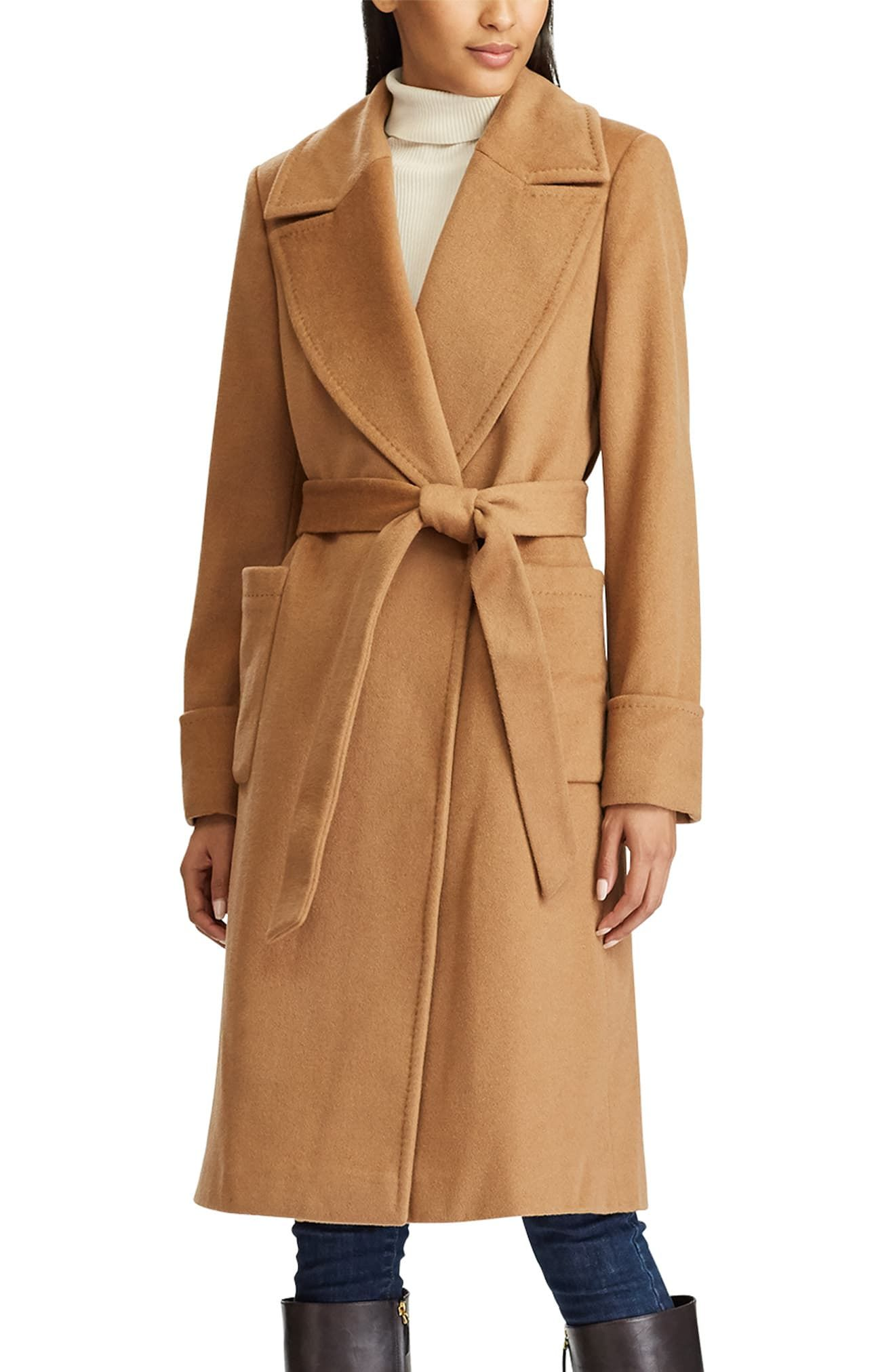 Women's Lauren Ralph Lauren Wool Blend Wrap Coat, Size 0 - Brown #ralphlaurenwomensclothing
