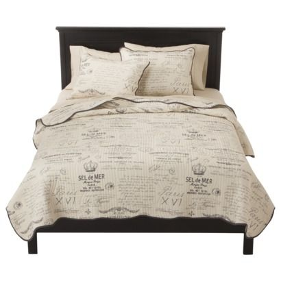 Gray Amp Cream Reversible Script Quilt Set 3 Piece Queen