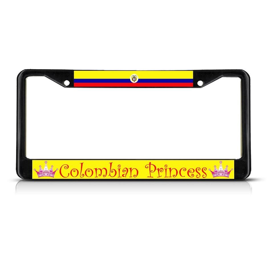 COLOMBIA COLOMBIAN PRINCESS Black Heavy Duty Metal License Plate Frame Tag