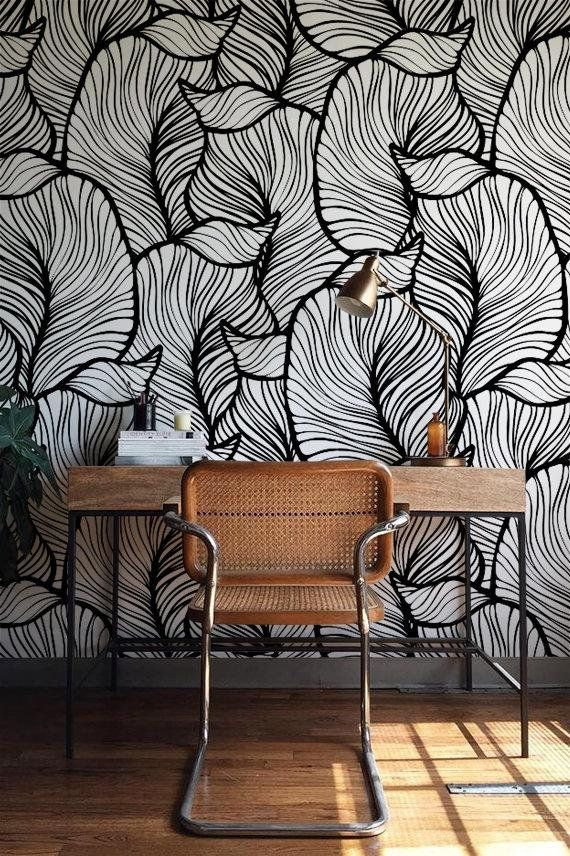Monochrome Feuille Wallpaper, Exotic leaves Wallpaper, Baroque style Wall Mural, Home Décor, Easy install Wall Decal, Removable Wallpaper B013b