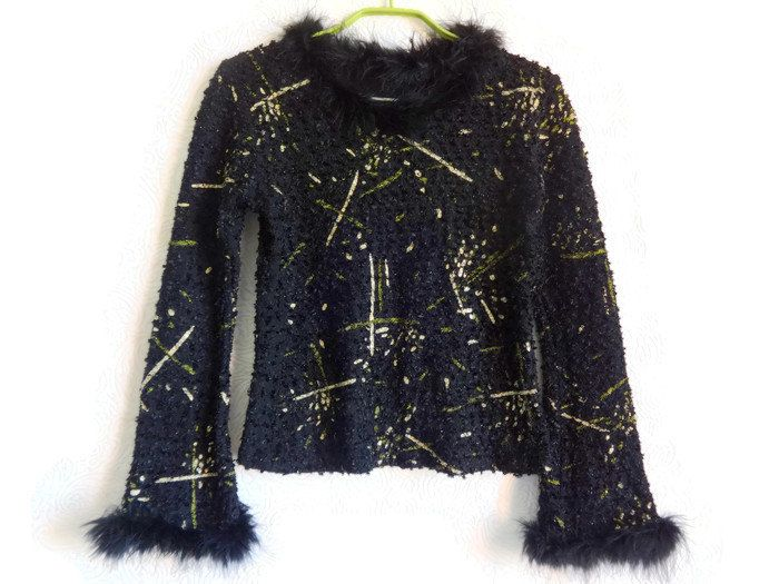 Black Glossy Top Long Sleeves Natural Feather Edge Black Top With Golden Stripes…