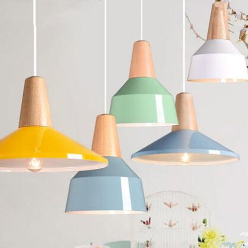 Modern Pendant Light Wood And Aluminum Lamp Colorful Restaurant