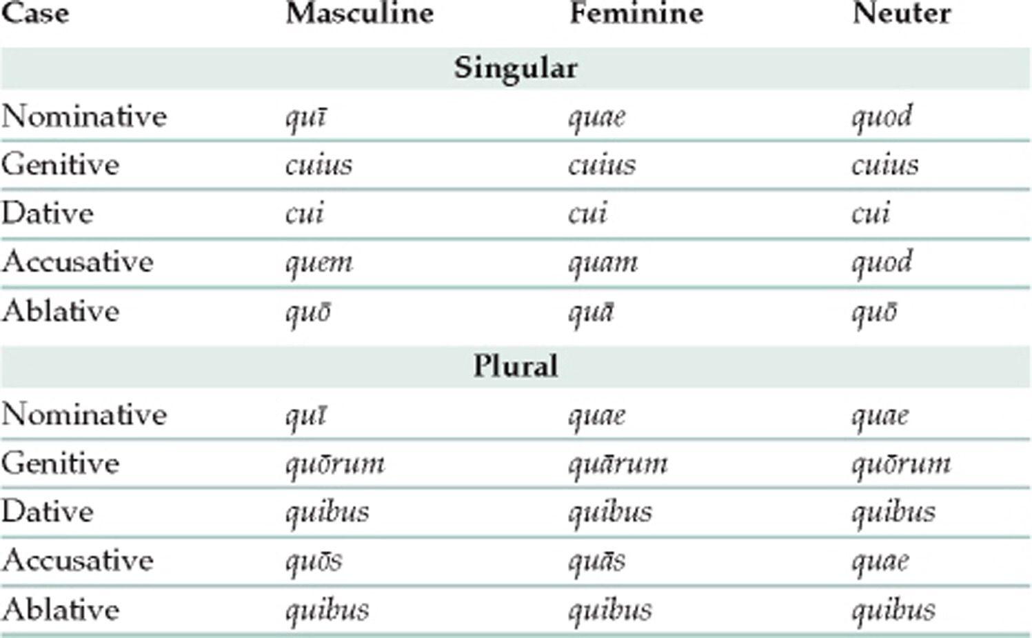 Latin Pronoun Chart