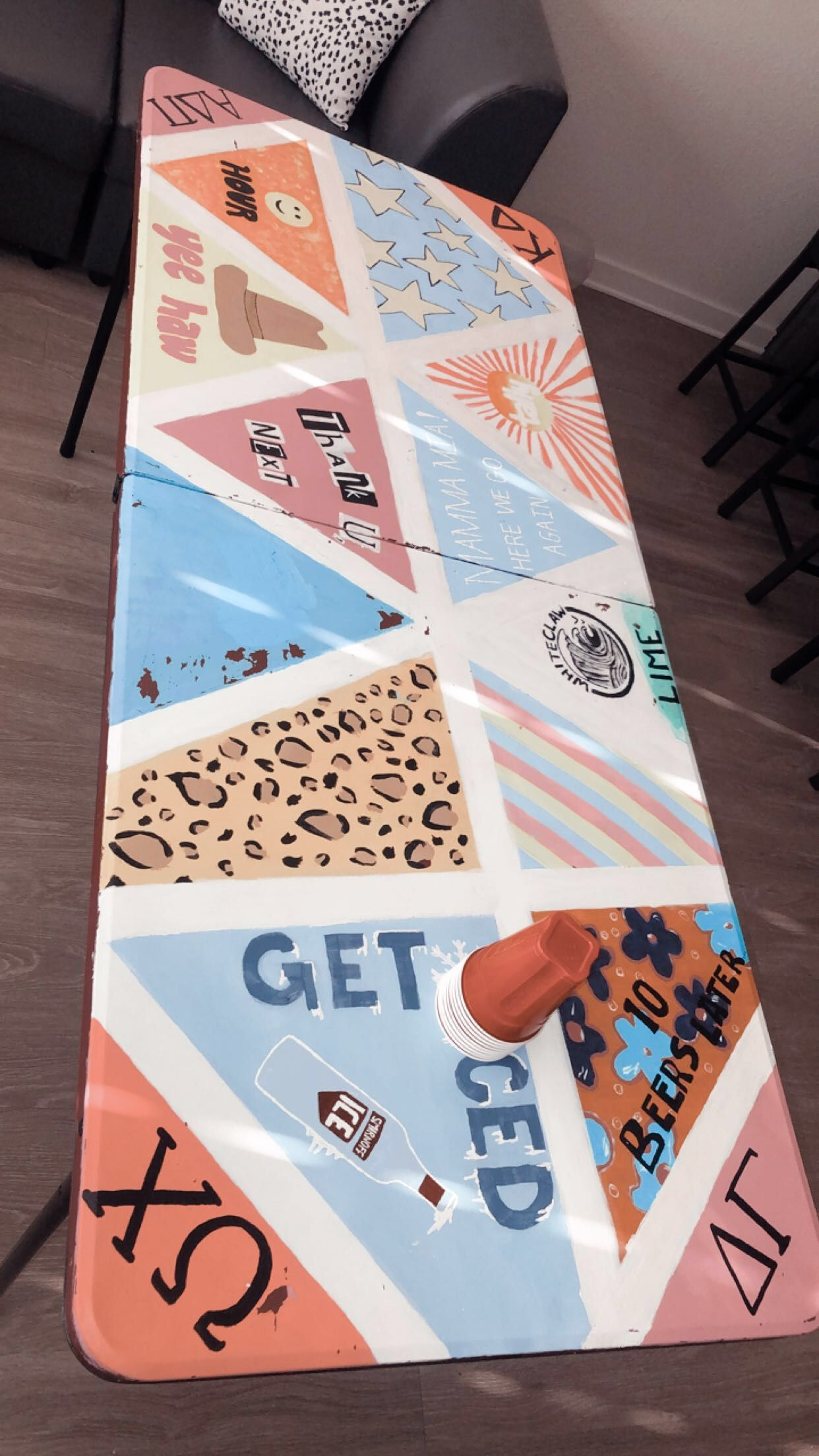 Painted Pong Table Beer Pong Table Painted Diy Beer Pong Table Beer Pong Table Diy