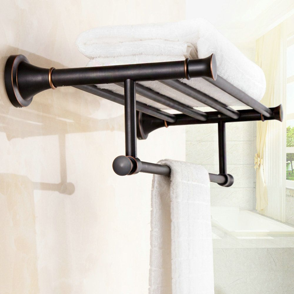 Handtuchhalter Bad aus Messing Schwarz Wandmontage