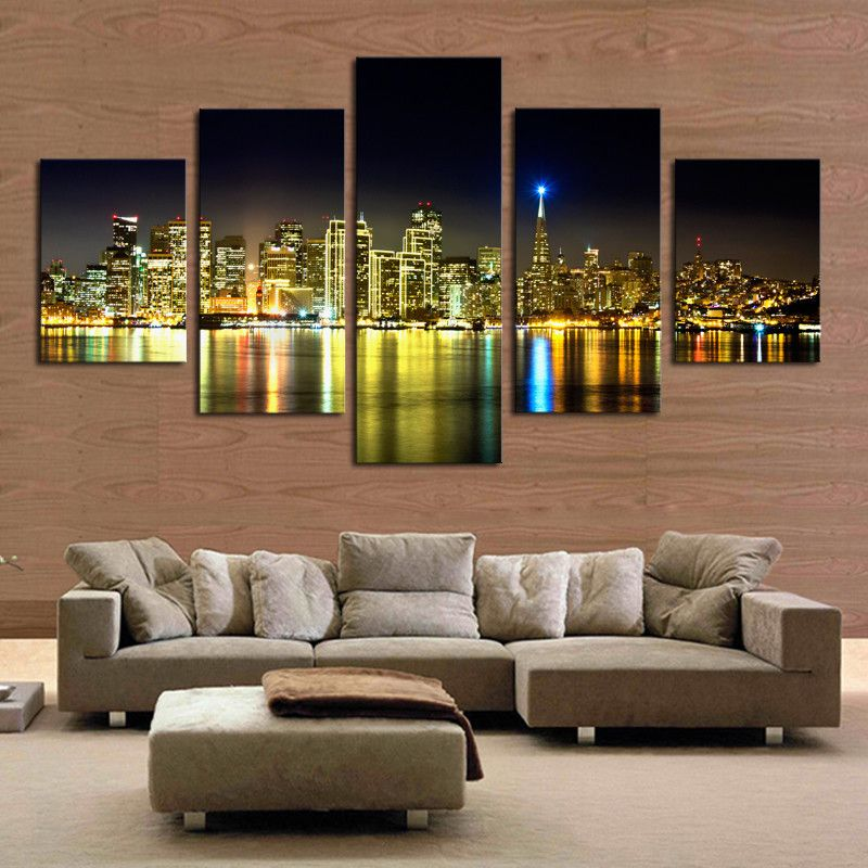 pieces set the city night view modern wall art home decor canvas picture print painting for living room frameless also watch more here panel on