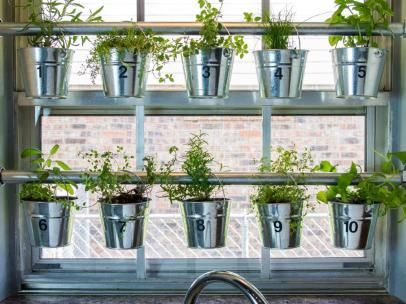 Buckets Of Herbs In Kitchen Windowsill Window Herb Garden 400 x 300