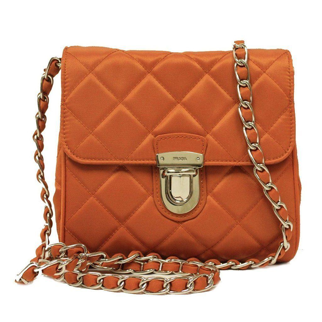 Prada Orange Tessuto Nylon Gold Leather Chain Crossbody Bag BP0623 ... a662fc7a17