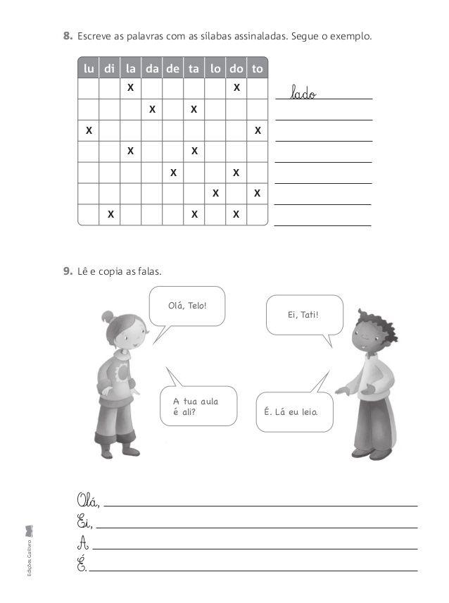 Fichas Avaliacao Mensal 1ºano Trabalhos Escritos Divisao Silabica