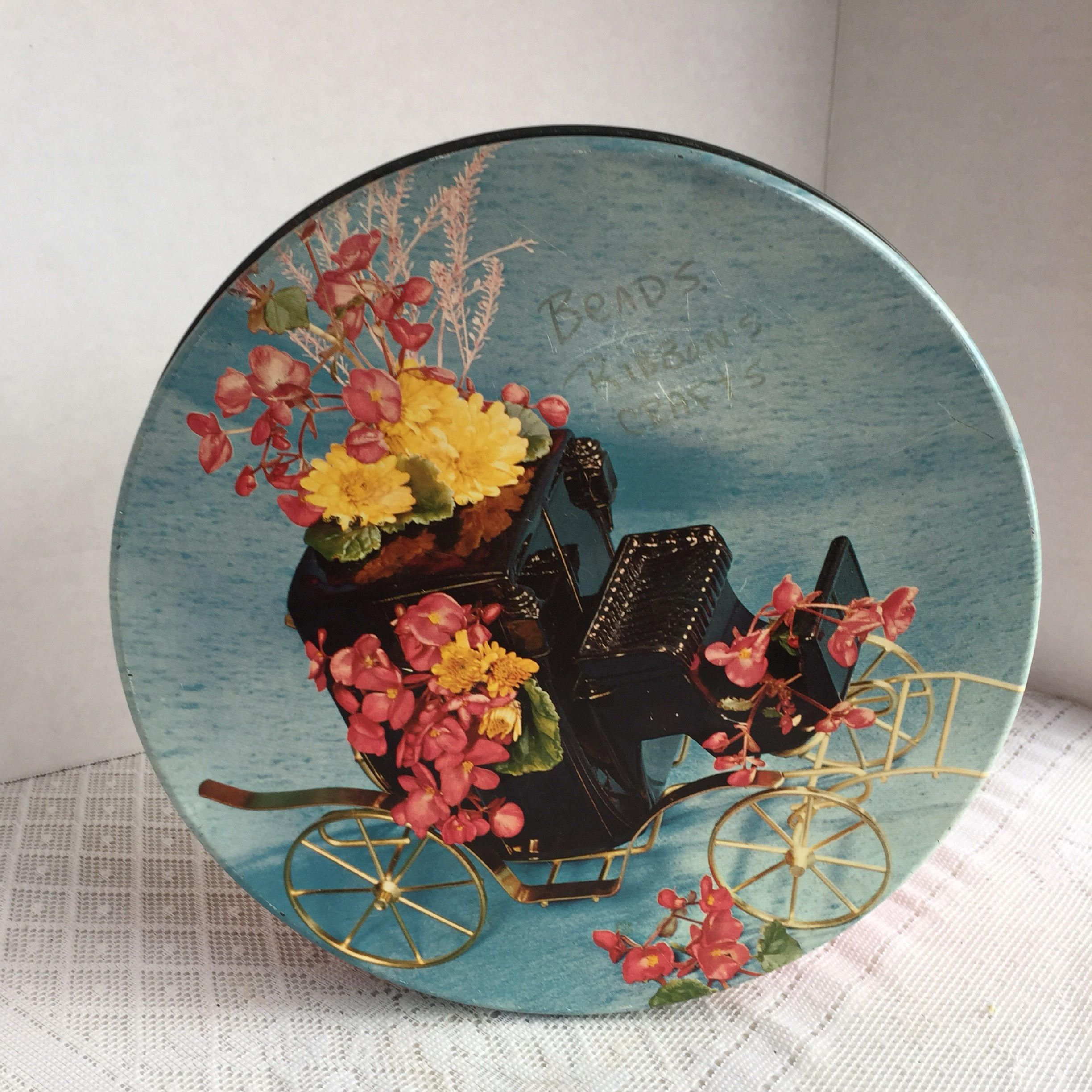 Red Metal Container Vintage Stagecoach And Flowers Cookie Tin Home Decor Kitchen Storage