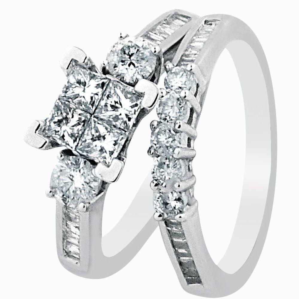 White Gold Diamond Bridal Set Wedding Rings .9ct Just