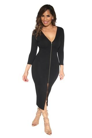 Slimming V-Neck Quarter Sleeve With Front Slit Classy Midi Dress In Black - MY SEXY STYLES  - 2