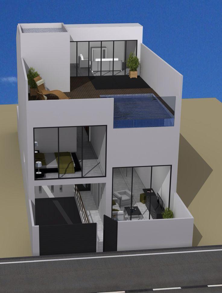 Encuentra aqui las mas originales fotos de fachadas de for Casa minimalista tres pisos