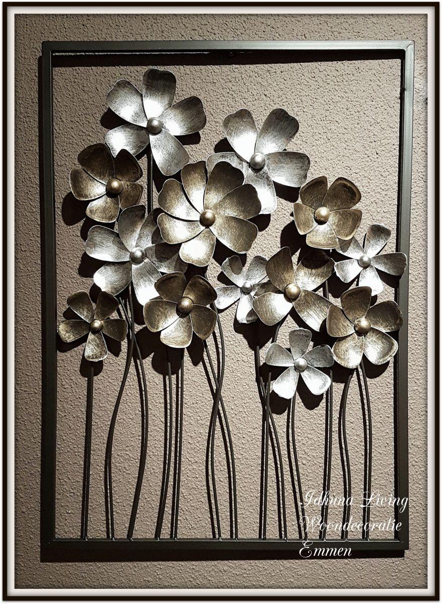 metalen wanddecoratie bloemen kleur antique gold amp silver