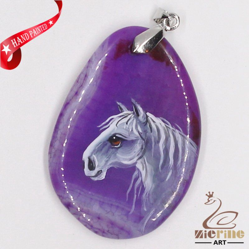 CREATIVE NECKLACE HAND PAINTED HORSE GEMSTONE PENDANT BEAD ZL8011442 #ZL #Pendant