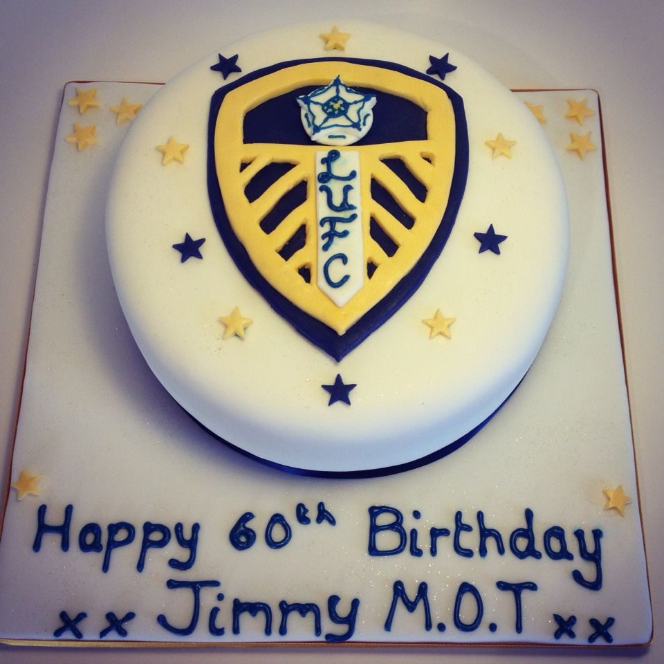 Leeds United football logo birthday cake, all handmade
