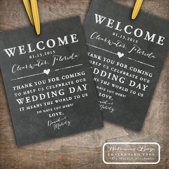 Printable Chalkboard Wedding Welcome Bag Tags Labels