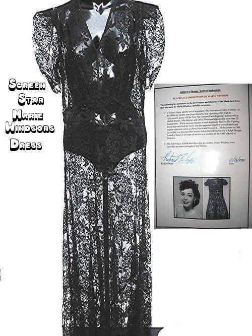 1930s Black lace dress worn by Marie Windsor by bonitalouise, $145.00