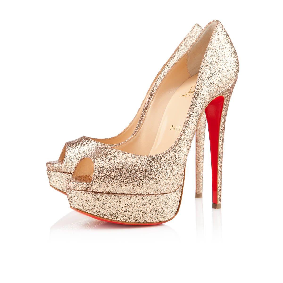 75dff43e9a0e Christian Louboutin lady peep 150mm nude glitter  945.00. Lady peep White Wedding  Shoes ...