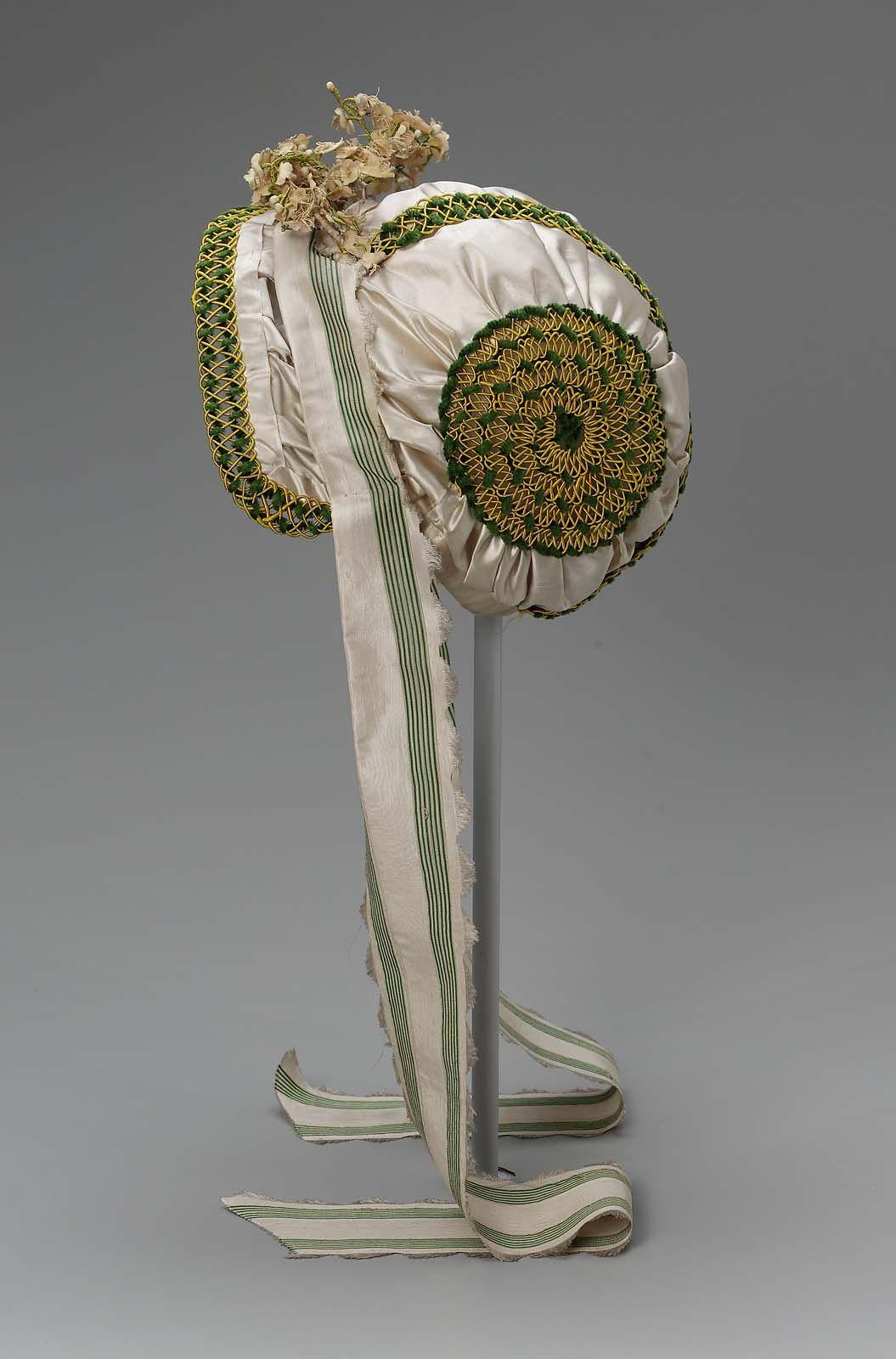 Bonnet (image 2) | France | 1805-1810 | silk, chenille | Museum of Fine Arts, Boston | Accession #: 43.1579