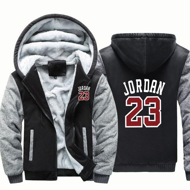 1b5541fa0209 Michael Jordan 23 Hoodie Zip up Jacket Coat Winter Warm Black and Gray   MichaelJordan