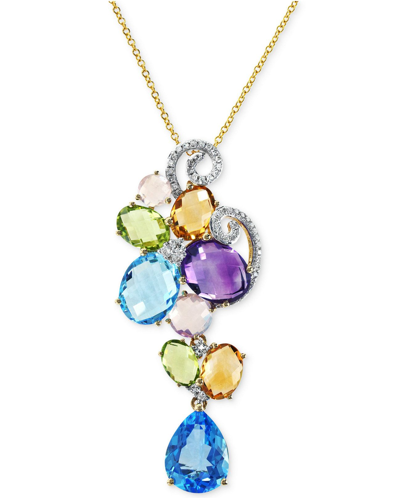 lyst white emerald w flower effy ct necklace effyr diamond brasilica tw by collection gold and pendant jewelry in t