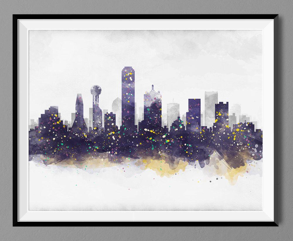 Watercolor artists in texas - Dallas Skyline Watercolor Dallas Skyline Dallas Texas Cityscape Wall Art Print