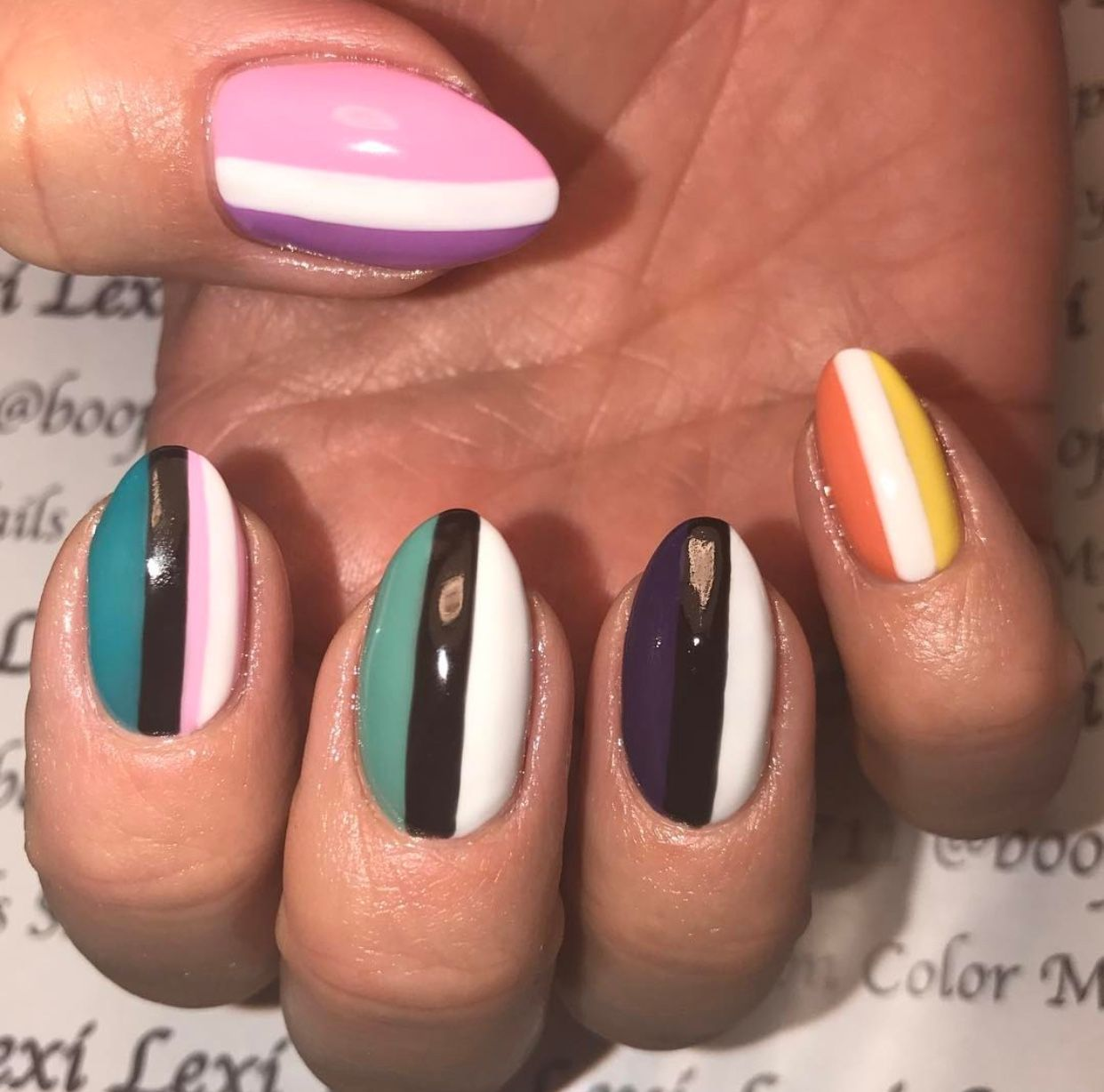 Hand Painted Nail Art Using Fbl Gel Polish Black Out White Bae