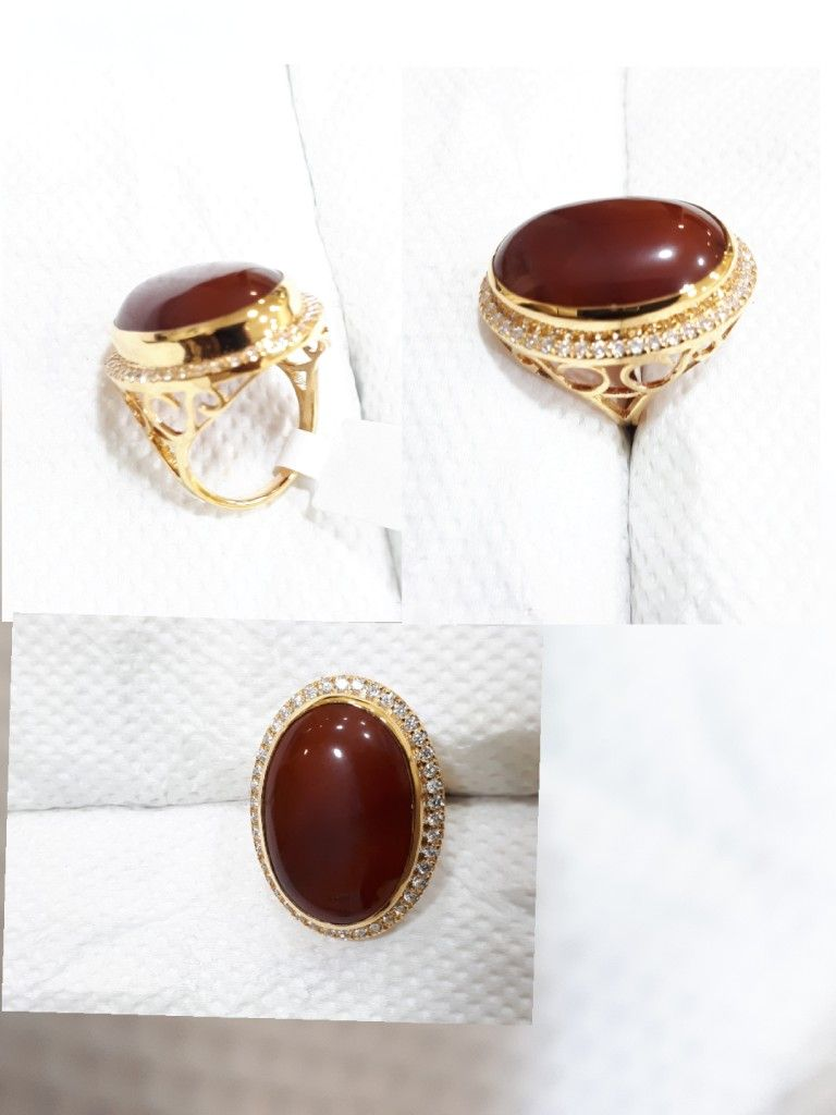 Yellow Gold Ring with Big Size Aqeeq Stone. | Our Products ...