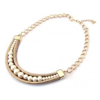 Collar con Perlas y Cadena de Aluminio