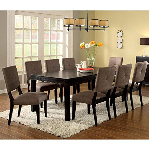 Bay Side Contemporary Style Espresso Finish 7-Piece Dining Table Set