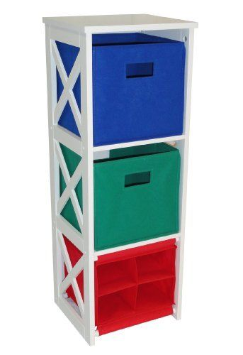 X-Frame Kids Storage W/ 2-Primary Colored Bins & 4-Slot Cubby by ...