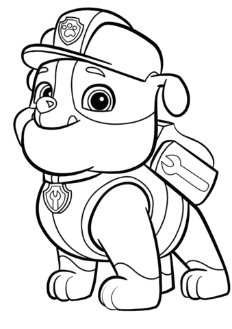 Paw Patrol Rubble Coloring Page From Paw Patrol Category Select From 24104 Printabl Paw Patrol Para Colorear Patrulla Canina Para Pintar Dibujos De Paw Patrol