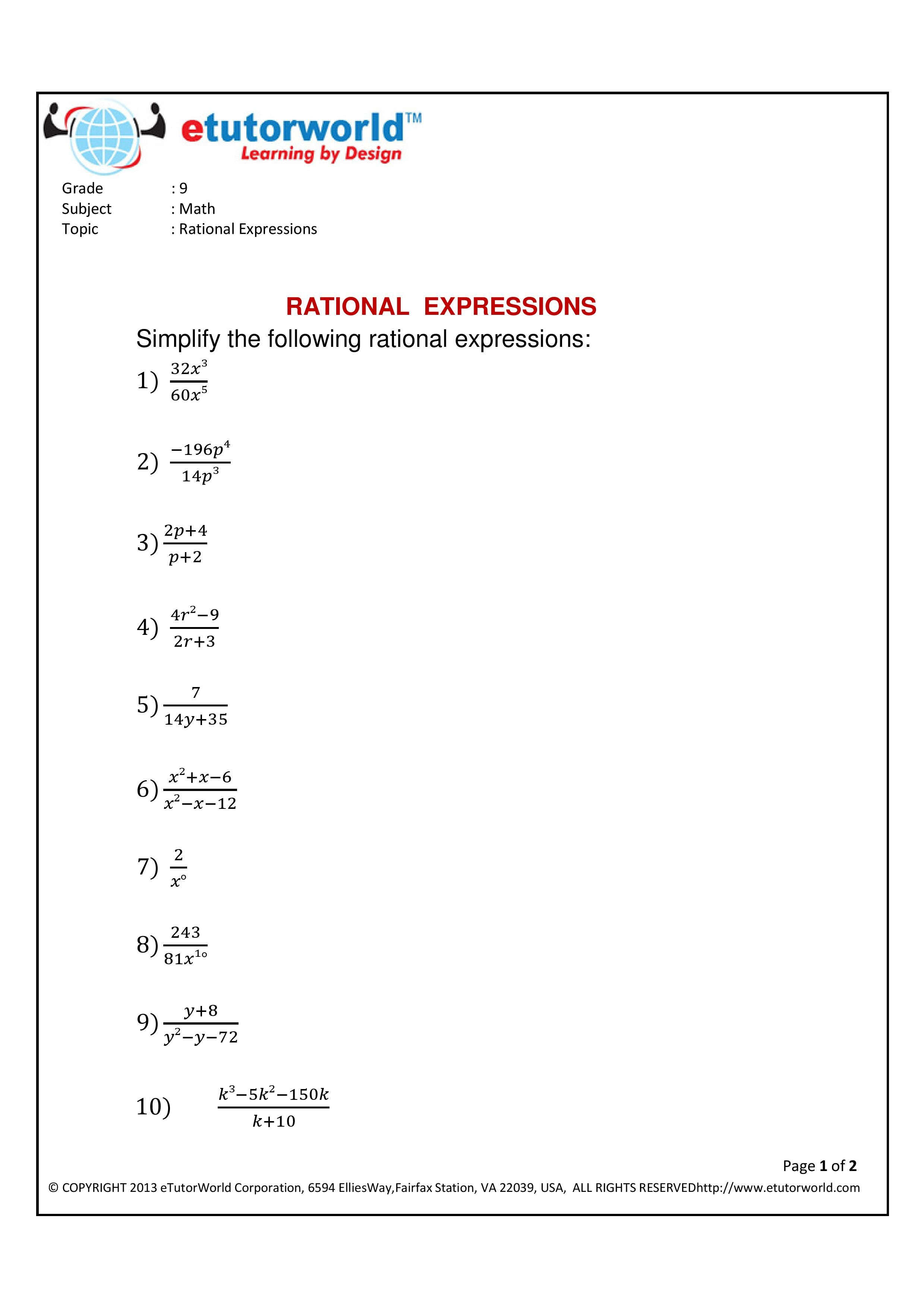 Math Practice Sheet for the topic 'Simplifying Rational ...