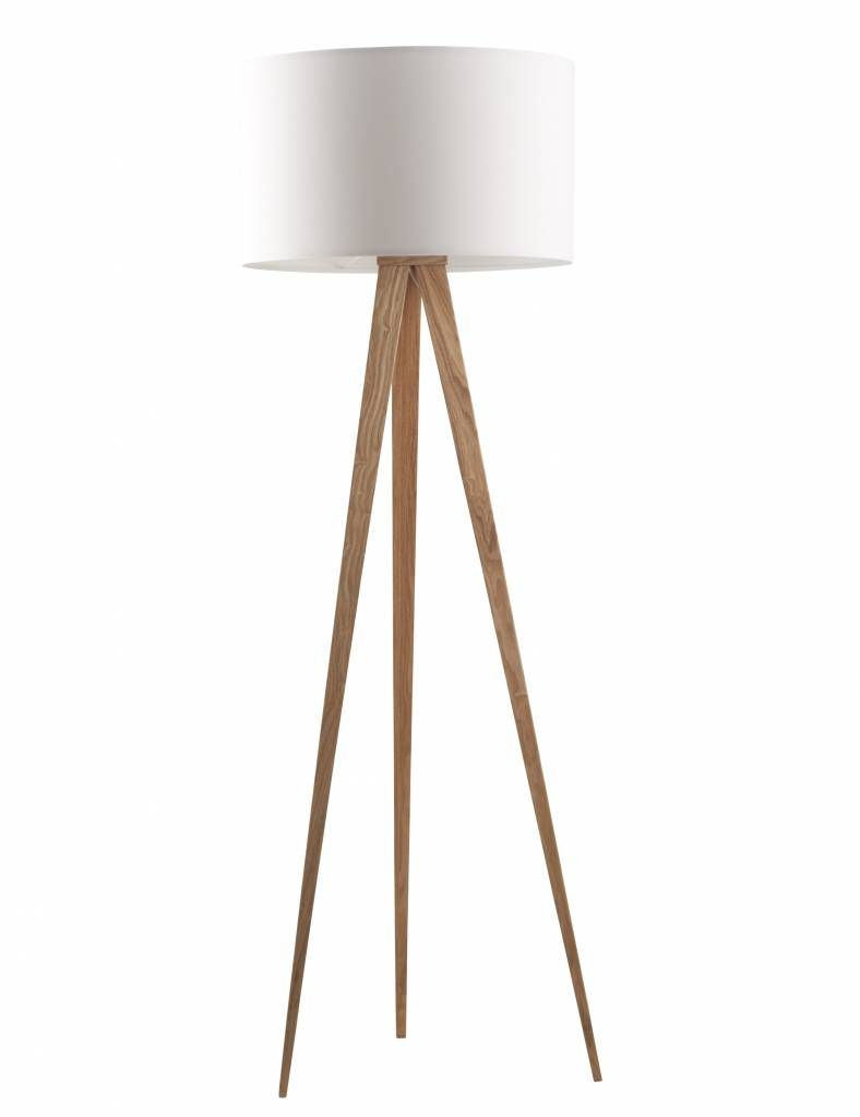 Find this Pin and more on Salón. Zuiver Tripod floor lamp from wood,  natural / white, - Handmade Tripod Floor Lamp, Wooden Stand In Dark Wood Color With