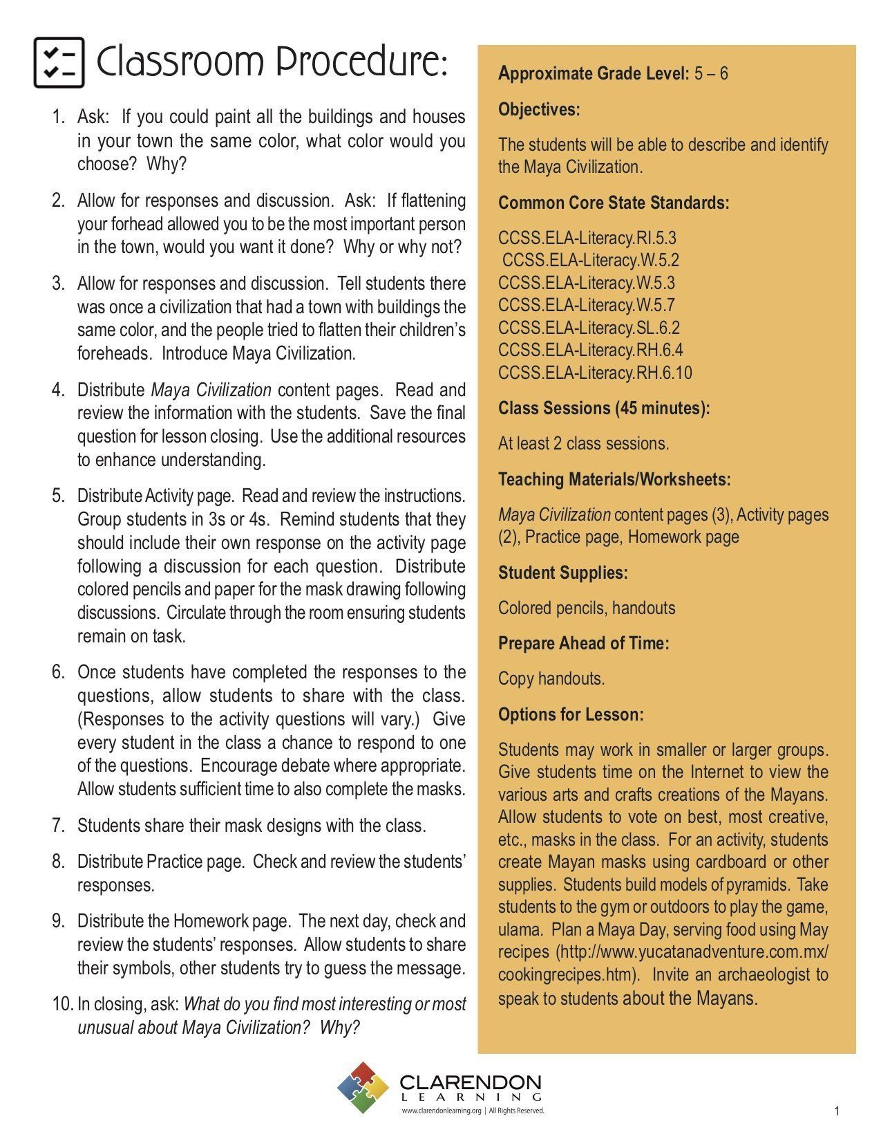 Characteristics Of Civilization Worksheet Maya