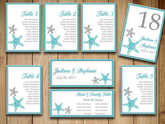 "Printable Wedding Seating Chart Template ""Blissful Starfish"" Ocean"