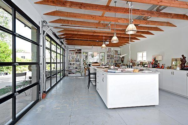 Art Studio With Glass Roll Up Garage Doors Garage Door Design Roll Up Garage Door Glass Garage Door