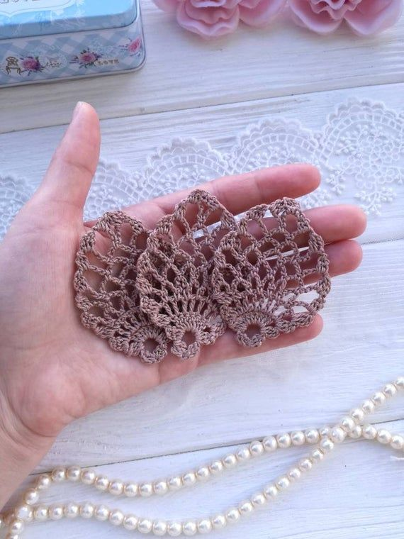 3 crochet elements. Crochet leaf. Crochet lace. Crochet applique. Brown lace. Crochet leaf #crochetelements