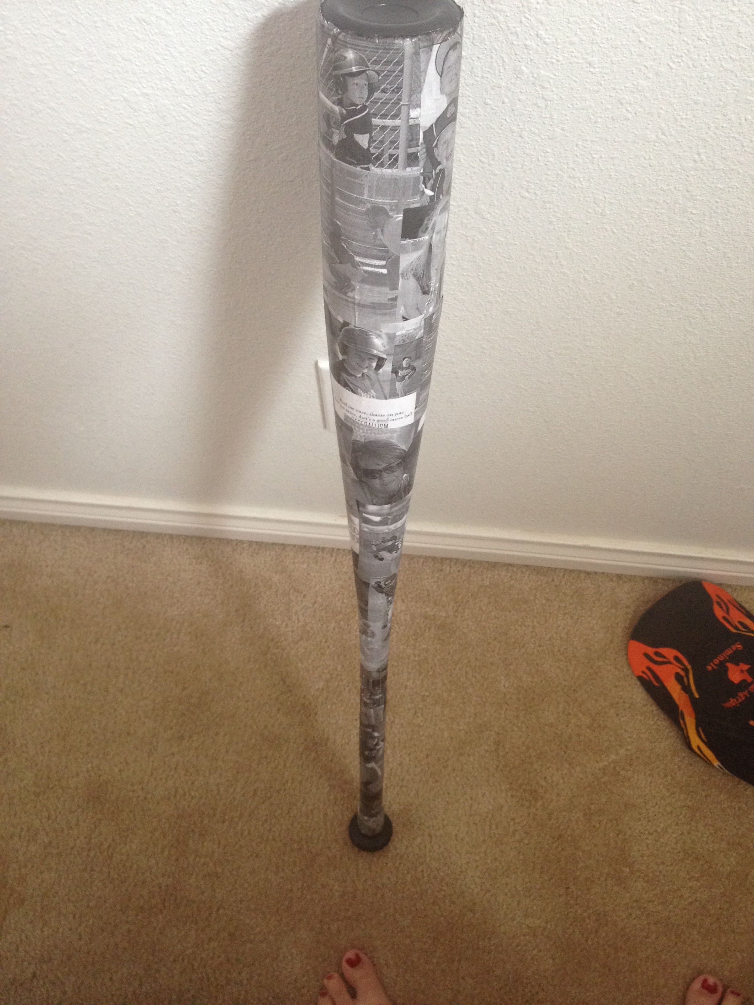 Modge podge an old baseball bat with baseball pictures for Baseball bats for crafts