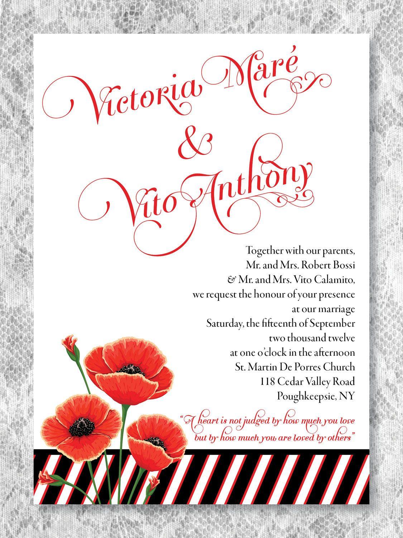 Poppy Wizard of Oz Wedding Invitation Deposit. $10.00, via Etsy ...