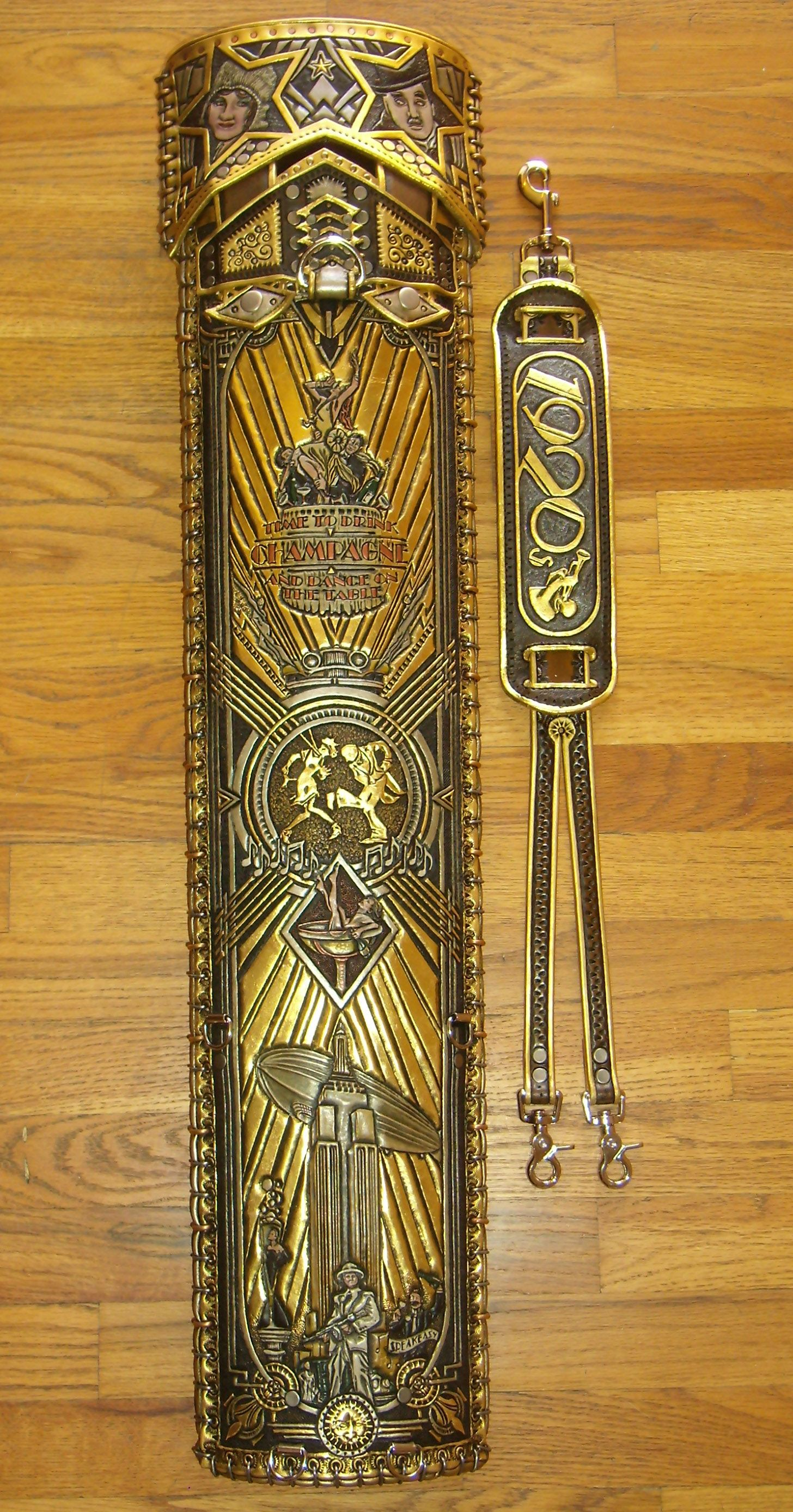 Roaring twenties custom hand tooled leather pool cue for Koi pool cue