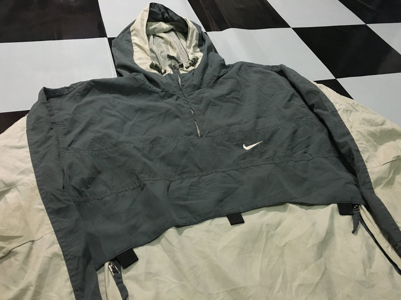 Vintage Nike Anorak Jacket Windbreaker Half Zip Pullover Nike Swoosh Logo Two Tone Green Gray Size M Made In Us Anorak Jacket Pullover Jacket Half Zip Pullover