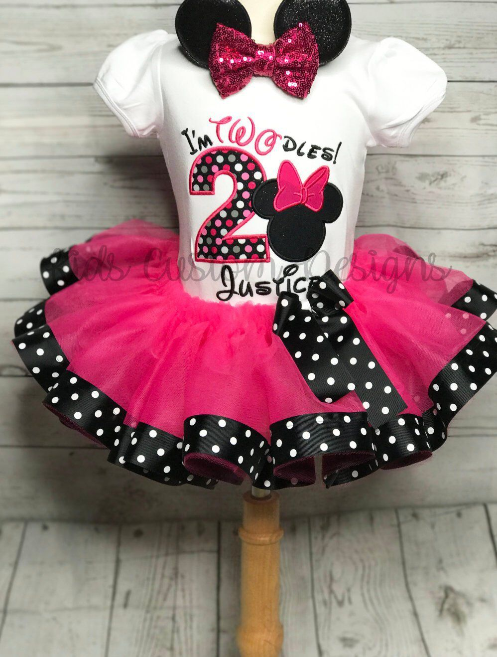 Girls Minnie Mouse Dress and Ears Set 1st 2nd Minnie Mouse Birthday Adorable Pink and Black Minnie Mouse Outfit Princess Minnie