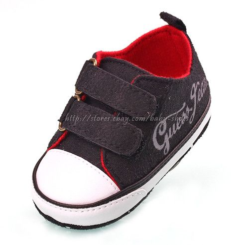 e63095e0cc6 Guess Black White Baby Boy Soft Sole Crib Shoes Toddler Sneaker Newborn to 18  Months