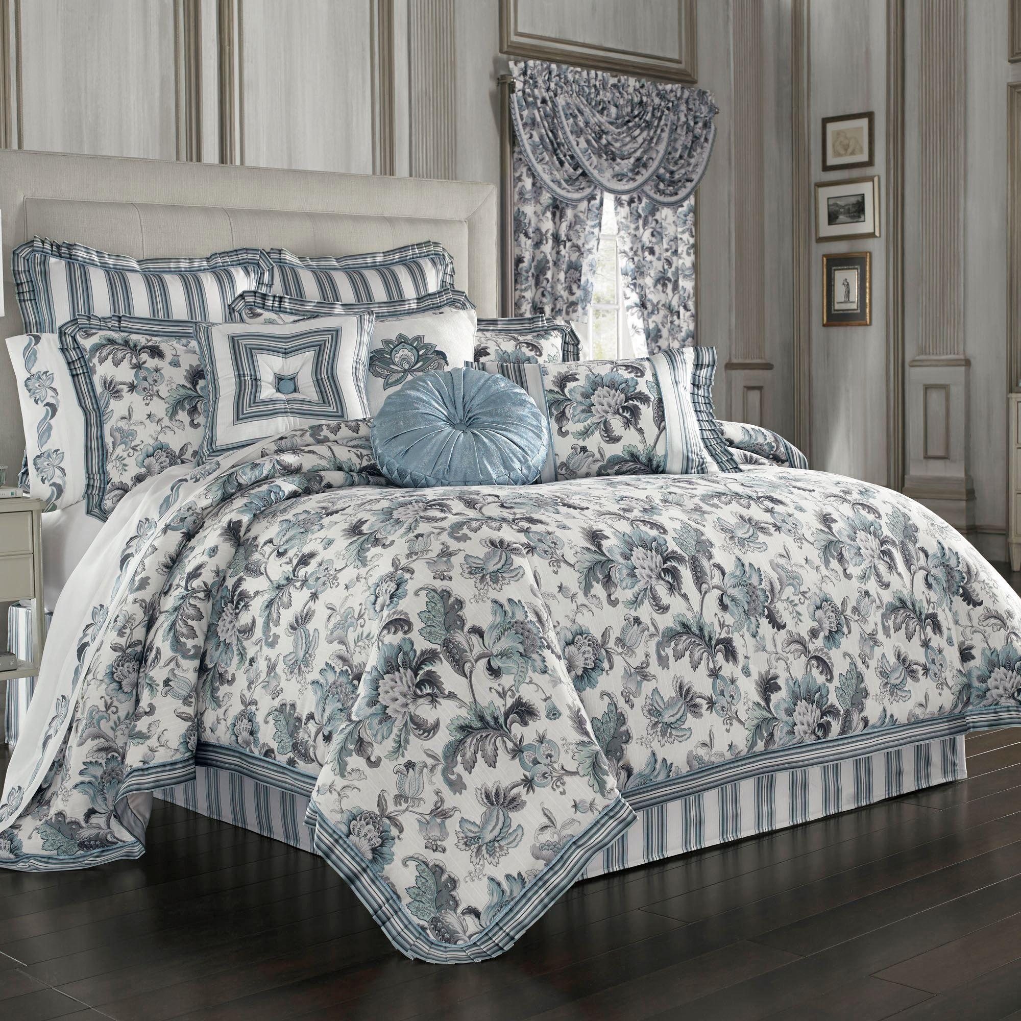 Atrium Jacobean Floral Comforter Bedding by J Queen New