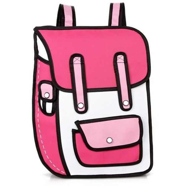 Aoibox Funny 3D Cartoon Backpack Students School Campus Bags Satchel (€22) ❤ liked on Polyvore featuring bags, backpacks, cartoon character backpacks, pink satchel bag, cartoon backpack, satchel hand bags and satchel handbags