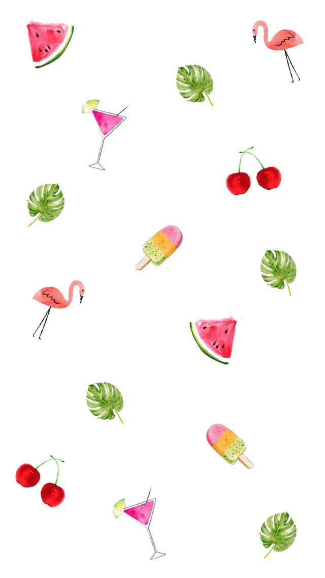 Tropical Fern Watermelon Cherry Flamingo Icecream Wallpaper Iphone Fondos De Pantalla Fondos De Telefono Fondos Para Iphone