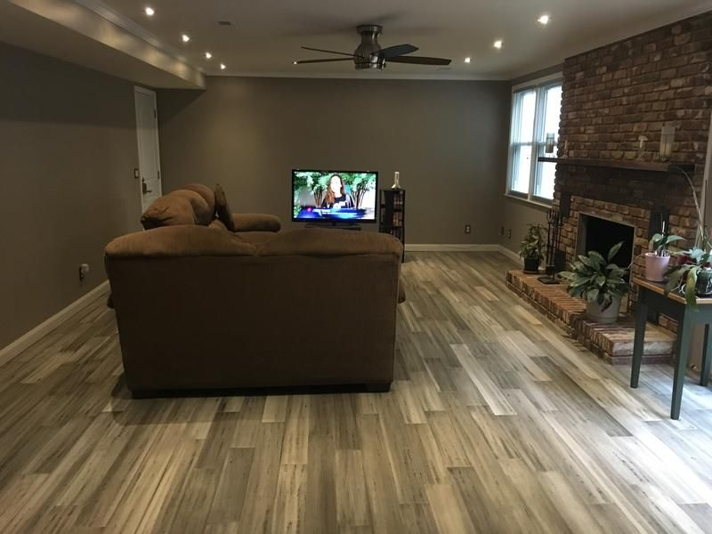 Morning Star Silver Stone Distressed Bamboo In A Living Room